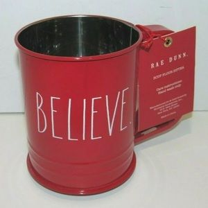 Rae Dunn BELIEVE Flour Sifter in Red
